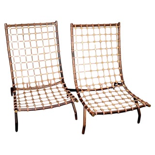 Ebony Slipper Chairs With Brass Details - a Pair For Sale