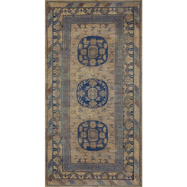 Mid 19th Century Mid 19th Century Handwoven Wool Khotan Rug For Sale - Image 5 of 5