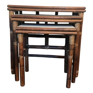 1960s Rattan Nesting Tables With Laminate Tops - Set of 3 For Sale