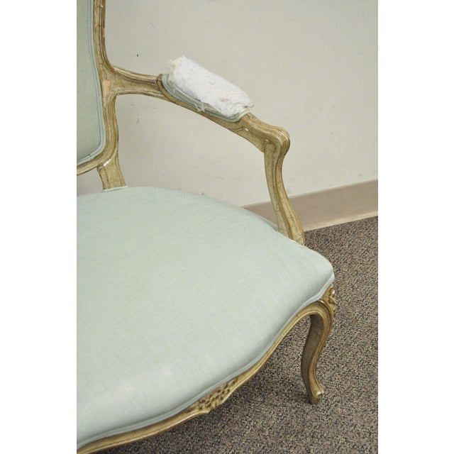 Vintage French Louis XV Style Distress Paint Carved Bergere Chair - Image 9 of 11