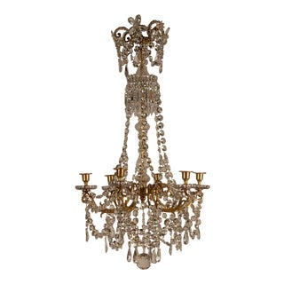 19th Century French Victorian Bronze Baccarat Crystal Cut Beaded Chandelier For Sale