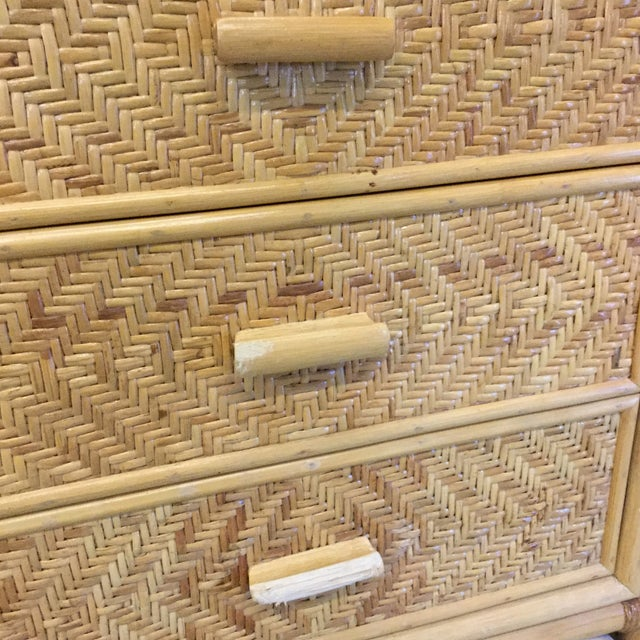 1970s Vintage Bamboo & Wicker Floating Glass Top Credenza Buffet For Sale - Image 5 of 12
