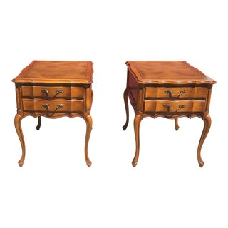 Vintage Hekman Leather Inlayed Side Tables - a Pair For Sale