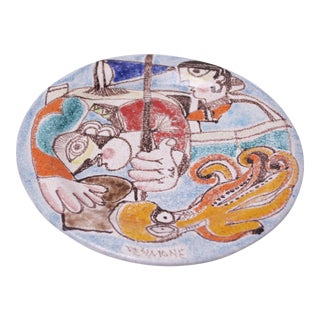 Hand Painted Italian Ceramic Maritime Plate by Desimone For Sale