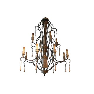 1930s Italian Wood and Iron Chandelier Made From Old Parts