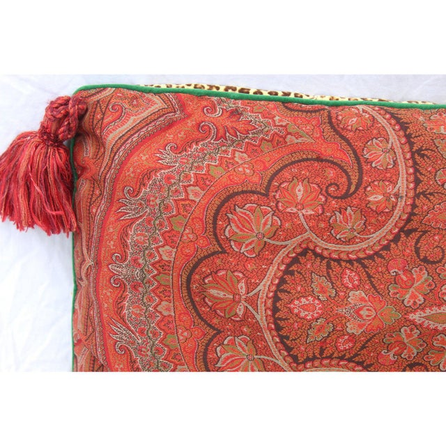 Silk 20th Century Contemporary Red Paisley/Leopard Print Silk Down Pillow For Sale - Image 7 of 10