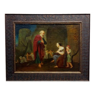 Attributed to Jean-Baptiste Greuze -The Saint & the Widow -18th Century Oil Painting For Sale