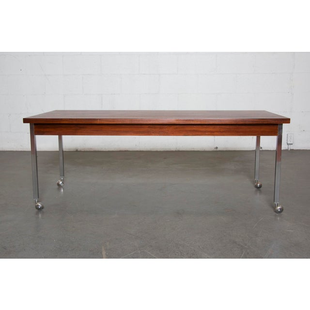 Large Rosewood Rolling Coffee Table - Image 2 of 8
