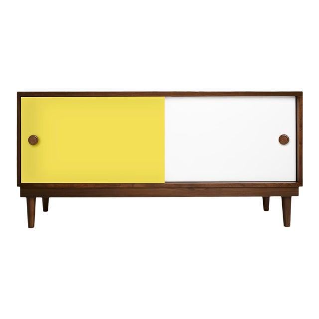 Nico & Yeye Luke Modern Kids Credenza Console Solid Walnut and Walnut Veneers Yellow For Sale