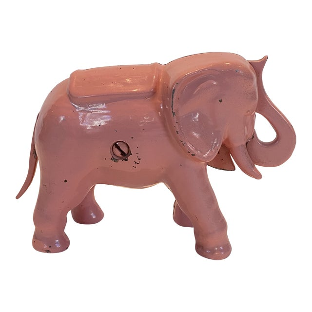 Vintage Pink Iron Mechanical Coin Bank For Sale