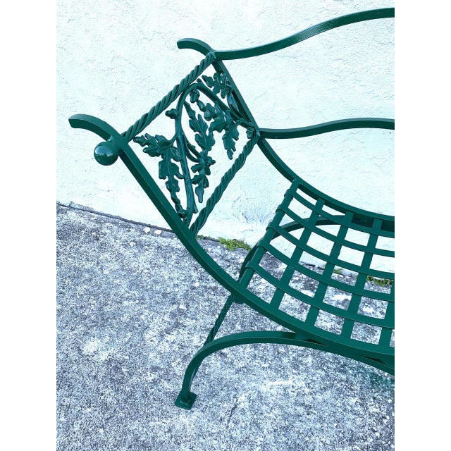 Mid 20th Century Wrought Iron Oak Leaf Motif Curule Benches, Provenance Celine Dion - a Pair For Sale - Image 5 of 9