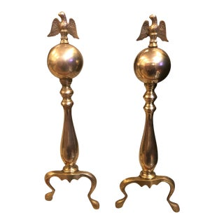 Antique Brass Federal Style Andirons - a Pair For Sale