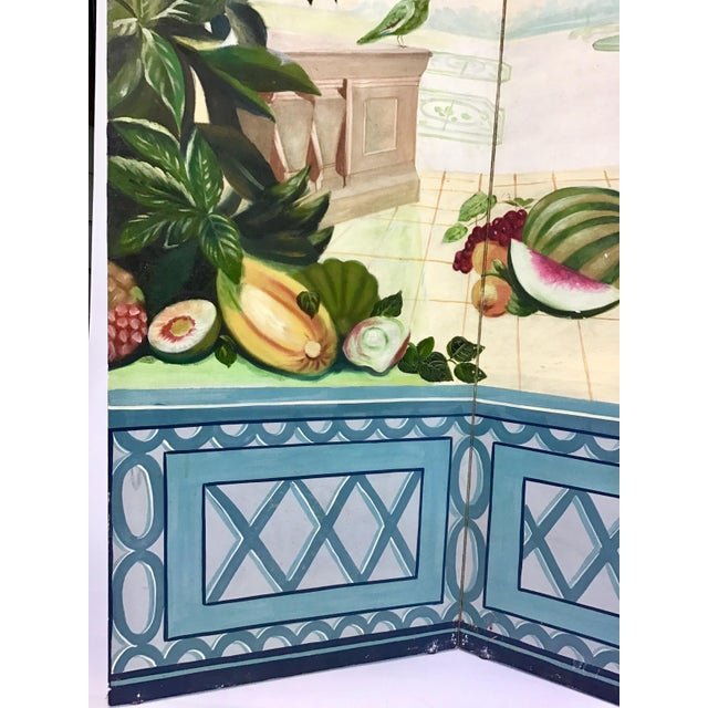 Hollywood Regency Maitland Smith Handpainted 3-Panel Screen For Sale - Image 3 of 10