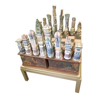 1990s Vintage Sara White and Lois Ellis Hand Thrown Sculptural Chess Set - 37 Pieces For Sale