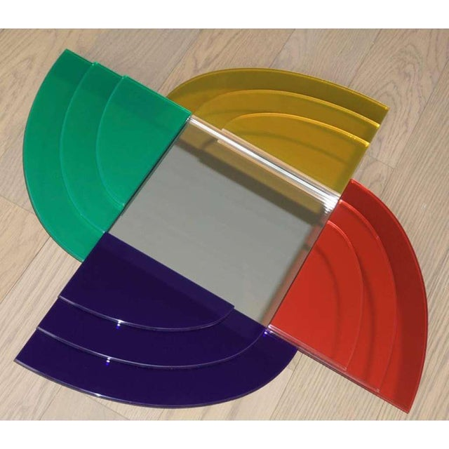 Glass 2007 Sottsass Postmodernism Mirror in Green Blue Yellow Pink for Glas Italia For Sale - Image 7 of 12
