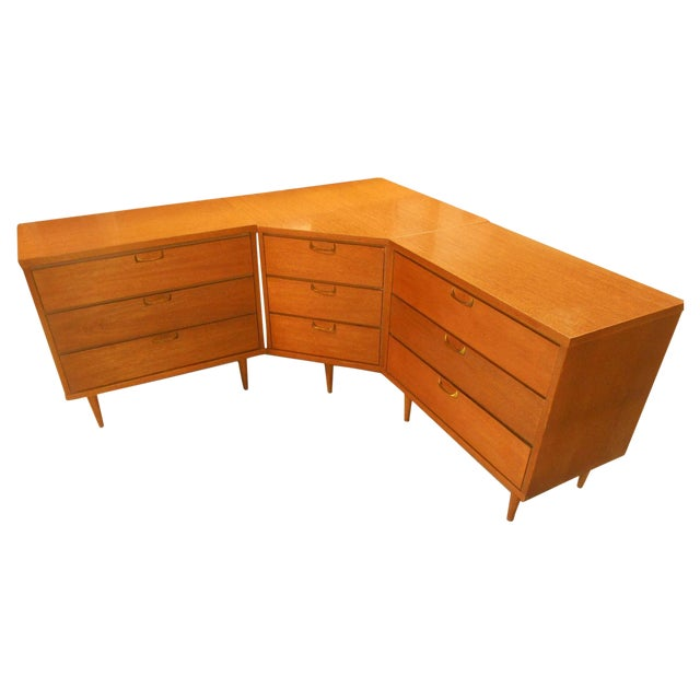 Mid-Century Danish Modern Corner Dresser Set - 3 For Sale