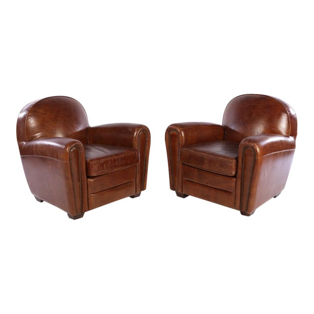 French Art Deco Style Leather Club Chairs - A Pair - Image 1 of 5