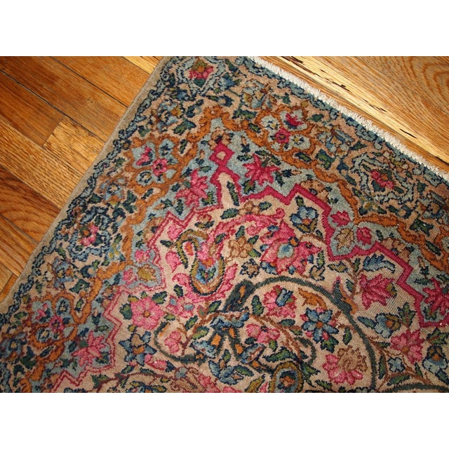 Islamic 1920s Hand Made Antique Persian Kerman Rug 3.2' X 4.9' For Sale - Image 3 of 7