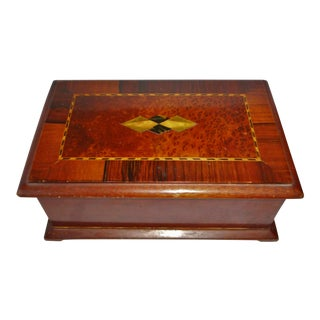 19th Century Antique Inlay Woods & Stones - Marquetry - Footed Box For Sale