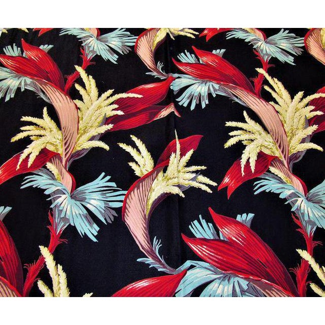 1930's Tropical South Beach Vintage Barkcloth Fabric Drape For Sale