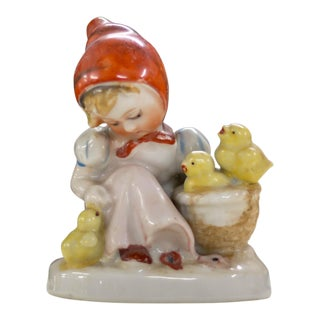 Vintage Porcelain Lady With Chicks Made in Occupied Japan