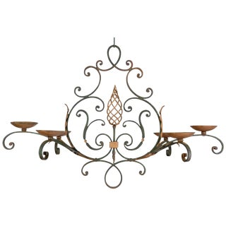 French Wrought Iron Six Light Chandelier For Sale