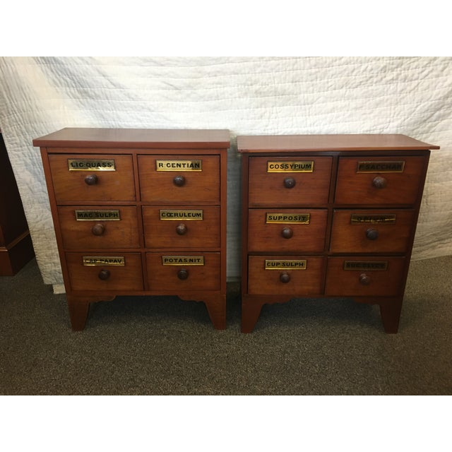 Brown 1900s Antique Cherry Apothecary Chests-a Pair For Sale - Image 8 of 9