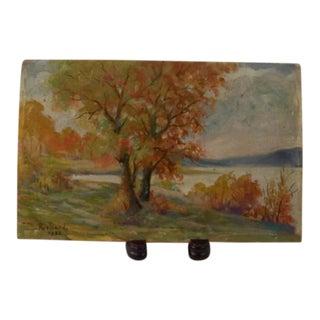 1932 Landscape on Cigar Box Panel Depression Era Signed Oil Painting For Sale