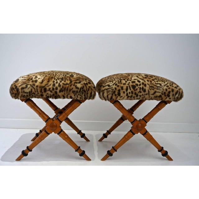 Pair of Biedermeier Style X-Stools with Faux Fur Upholstery For Sale - Image 4 of 10