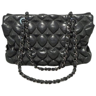 Chanel Grey Leather 3d Point Quilted Shoulder Bag Tote- Press Sample For Sale