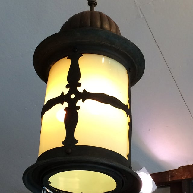 Old World Metal and Opalescent Glass Lantern - Image 3 of 3