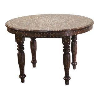 Indian Wood and Bone Side Table For Sale
