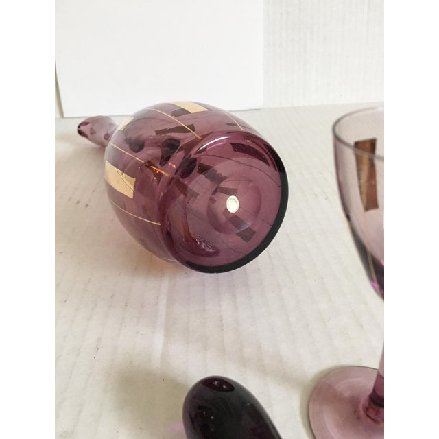Amethyst & Gold Mid-Century Modern Cordial Set for Two For Sale In Richmond - Image 6 of 7