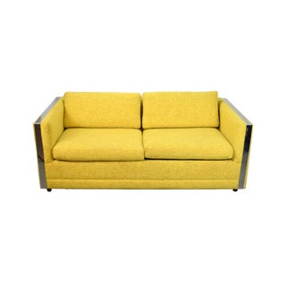 1960s Mid-Century Modern Chrome and Yellow Upholstery Sofa For Sale
