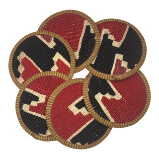 Rug & Relic Kilim Coasters Set of 6 | Asli For Sale