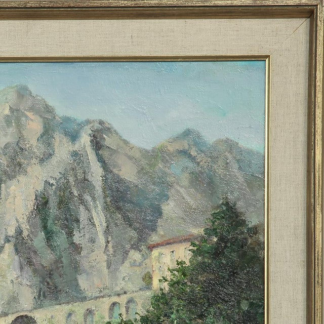 Gray Mid- Century Original Painting on Canvas by Tilleux of Italian Alps For Sale - Image 8 of 12