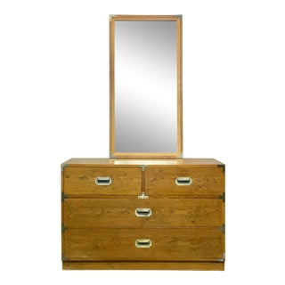 Vintage Bernhardt Campaign Style Bachelor's Chest of Drawers & Mirror For Sale