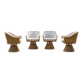 Vintage Palm Beach Style Split Bamboo Split Reed Swivel Dining Chairs / Side Chairs - Set of 4 For Sale