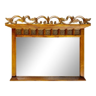 Vintage Mirror Made From Old Teak Wardrobe For Sale