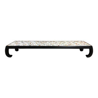 Long Tile-Top Asian Style Coffee Table For Sale