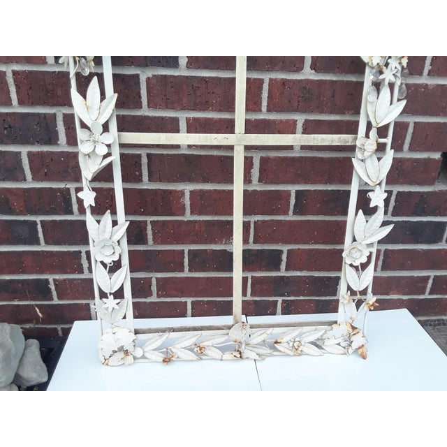 Metal White Tole Picture or Mirror Metal Frame With Flowers, Leaves and Crystals For Sale - Image 7 of 9