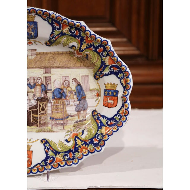 Large 19th Century French Hand-Painted Oval Faience Wall Platter From Brittany For Sale In Dallas - Image 6 of 12