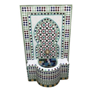 "Moroccan ""Zelij"" Tile Wall Fountain"