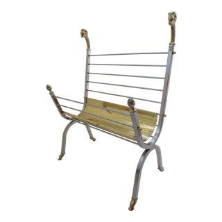 Italian Vintage Maison Jansen Style Steel and Brass Magazine Rack With Rams Head