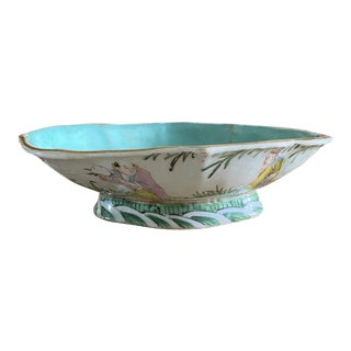 Antique Early 20th Century Chinoiserie Pedestal Decorative Bowl/Catchall For Sale