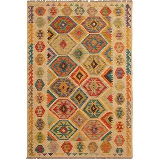 Yoshiko Ivory/Rust Hand-Woven Kilim Wool Rug -5'1 X 6'8 For Sale