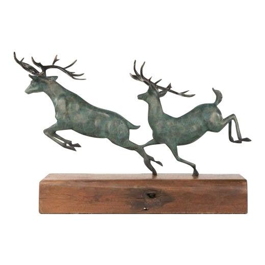 Two Running Stag Reindeer Bronze Statue For Sale