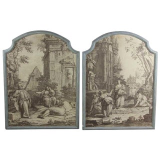 "French Grisaille ""Papiers Peints"" Panels - a Pair For Sale"
