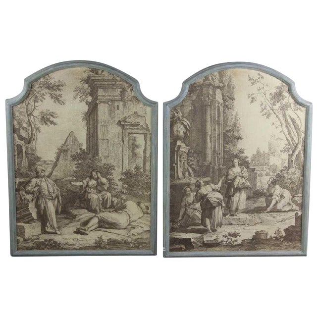 "French Grisaille ""Papiers Peints"" Panels - a Pair For Sale"