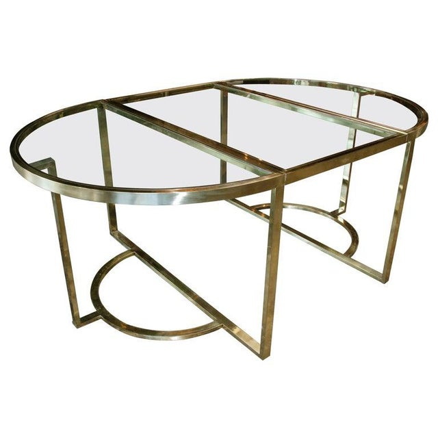1970 Romeo Rega Brass Oval or Round Dining Table For Sale - Image 9 of 9